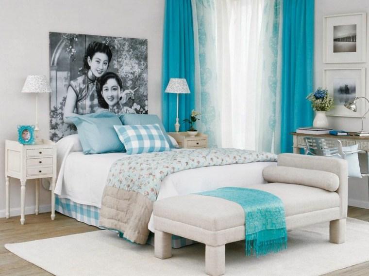Azul aguamarina para la decoraci n de los interiores for Dormitorio verde agua