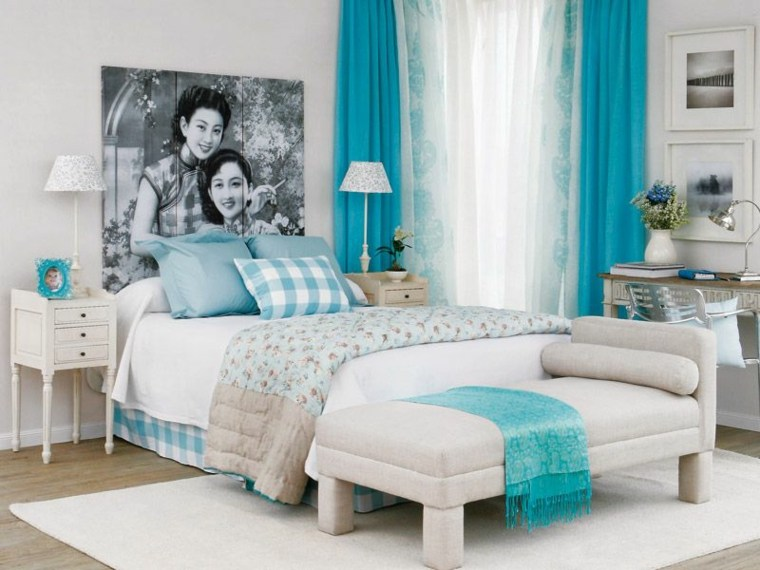 azul aguamarina decorar dormitorio
