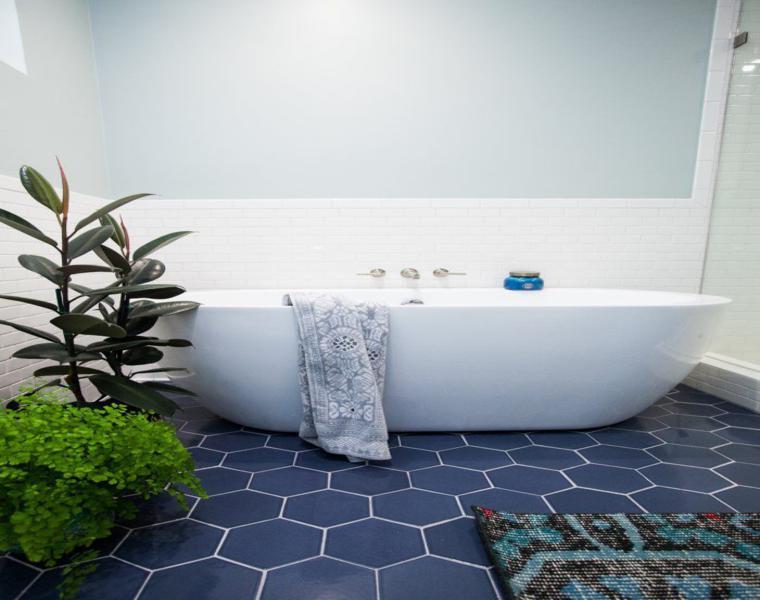 azulejos de baño color azul