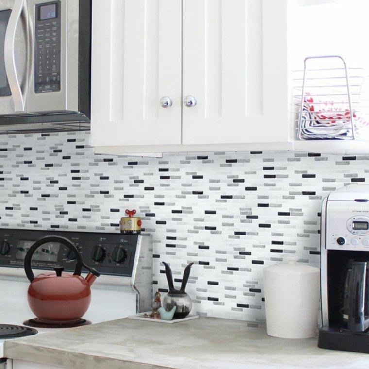 Dise os de salpicaderos de cocina modernos 34 ideas - Cocinas con azulejos blancos ...