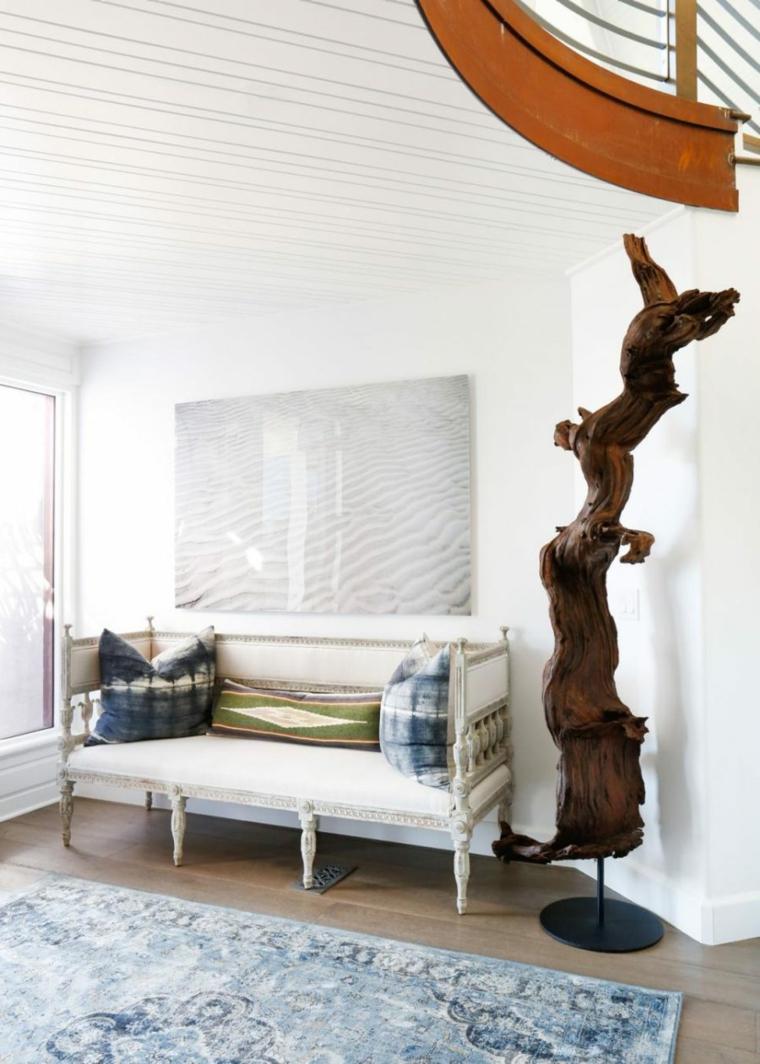 banco estilo rustico tronco madera