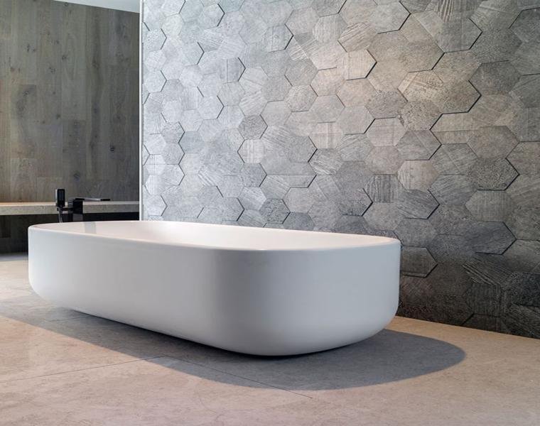 diseño de baño minimalista con azulejos
