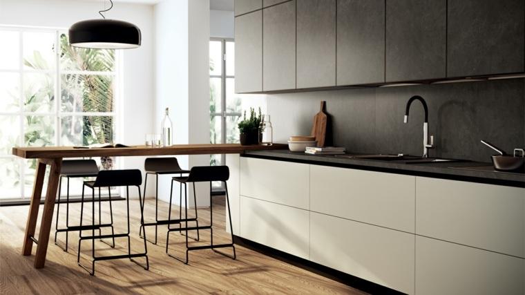 Cocinas modernas con barra 38 dise os que se ven for Barra cocina madera
