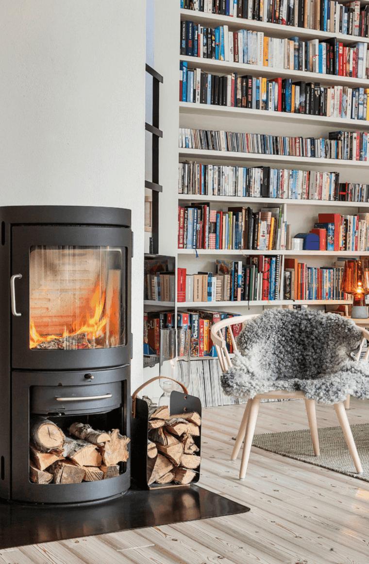 biblioteca y chimenea estilo nordico