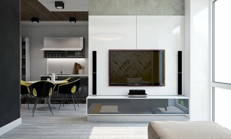 blanco negro contrastes casa mubles