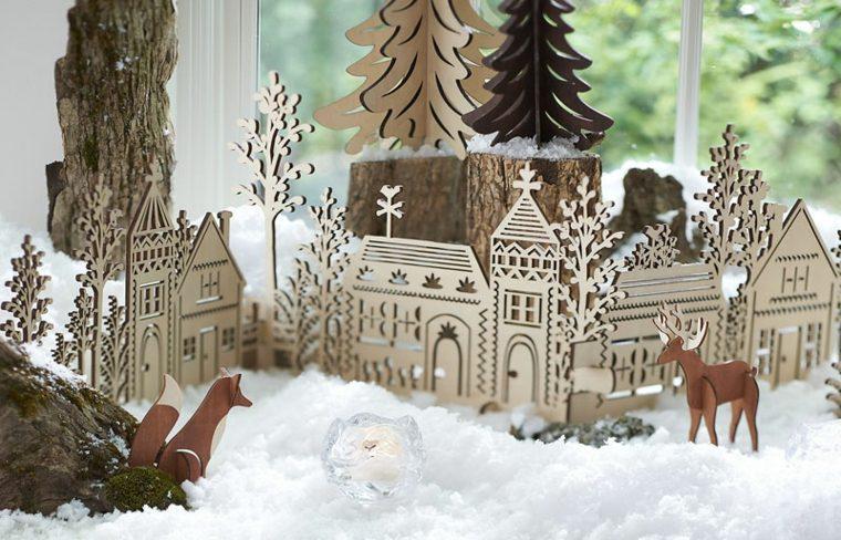 bonitas siluetas casitas madera navideñas