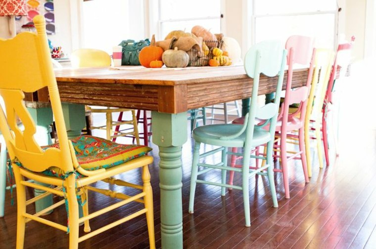 bonito conjunto muebles comedor colores