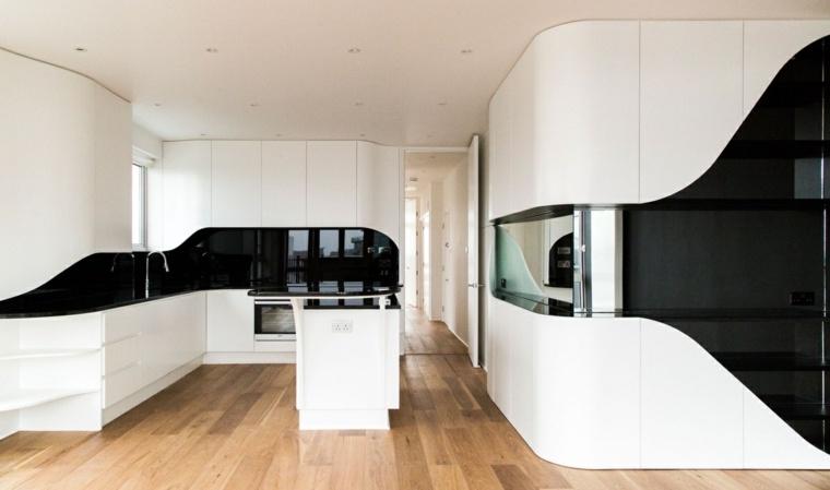 cabinetes blancos negros muebles sillas