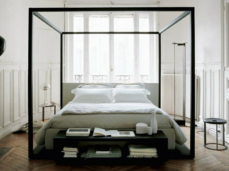 decoración camas de matrimonio cama dosel negra opciones antonio citterio ideas