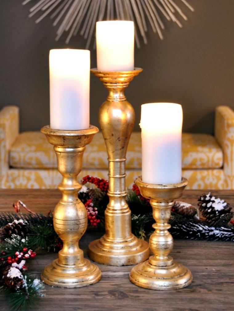 candelabros dorados efecto mesas paredes