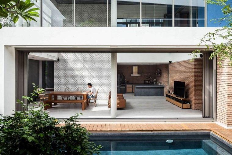 casa ladrillo paredes abierta diseno alkhemist architects ideas