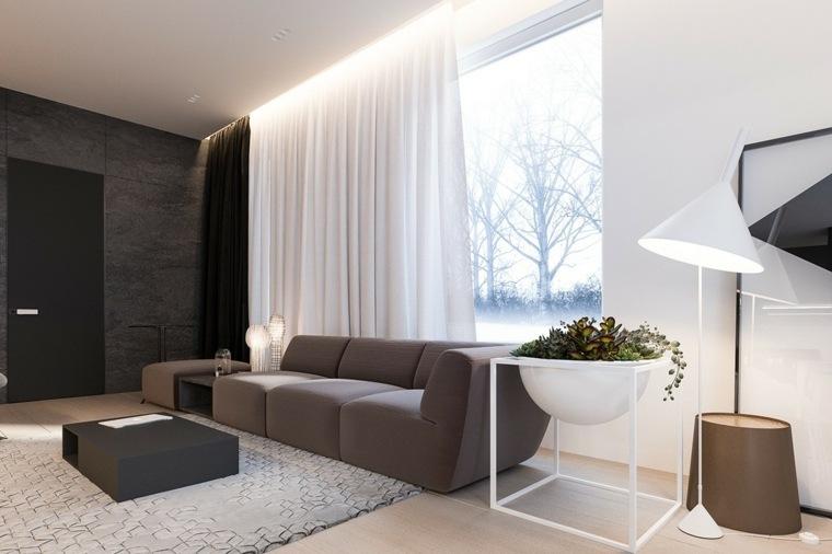 casa minimalista marrones colores cortinas