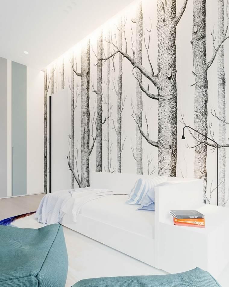 casa minimalista paredes arboles cojines