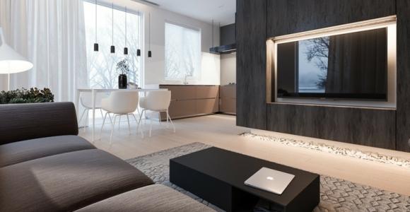Casa minimalista con espacios brillantes y funcionales
