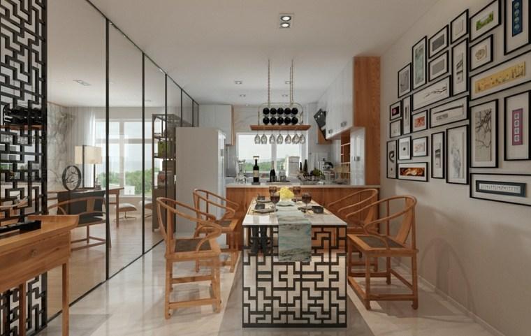 casa zen cuerdas maderas estilo comedor
