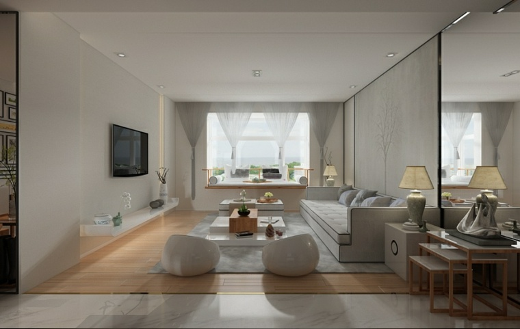 casa zen espejos sillones suelos abierto