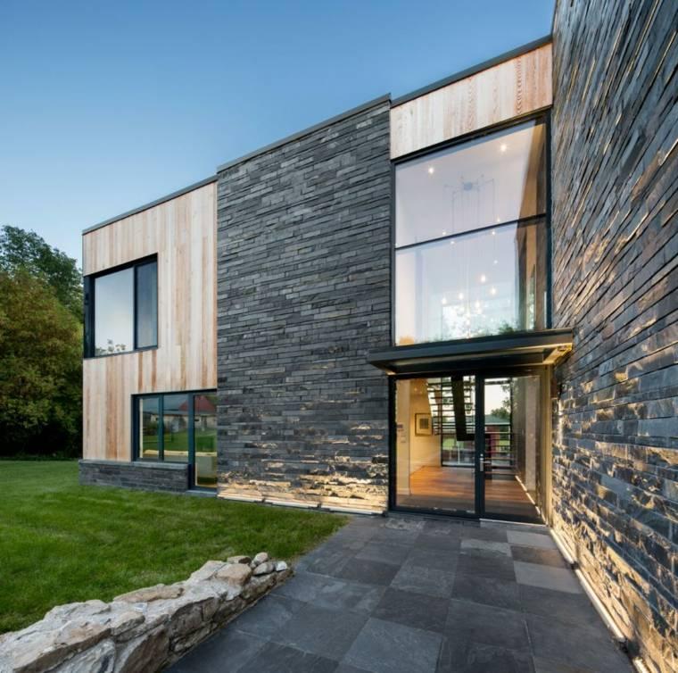 casas estilo contemporáneo camino losas piedra ideas