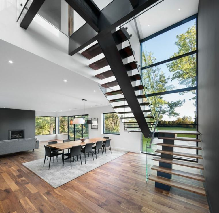 casas estilo contemporáneo comedor escaleras ideas