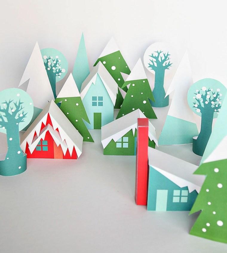 casitas árboles cartulina colores
