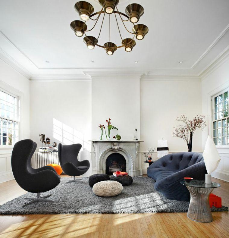 decoración de interiores chimenea preciosa espacios amplios plano abierto ideas