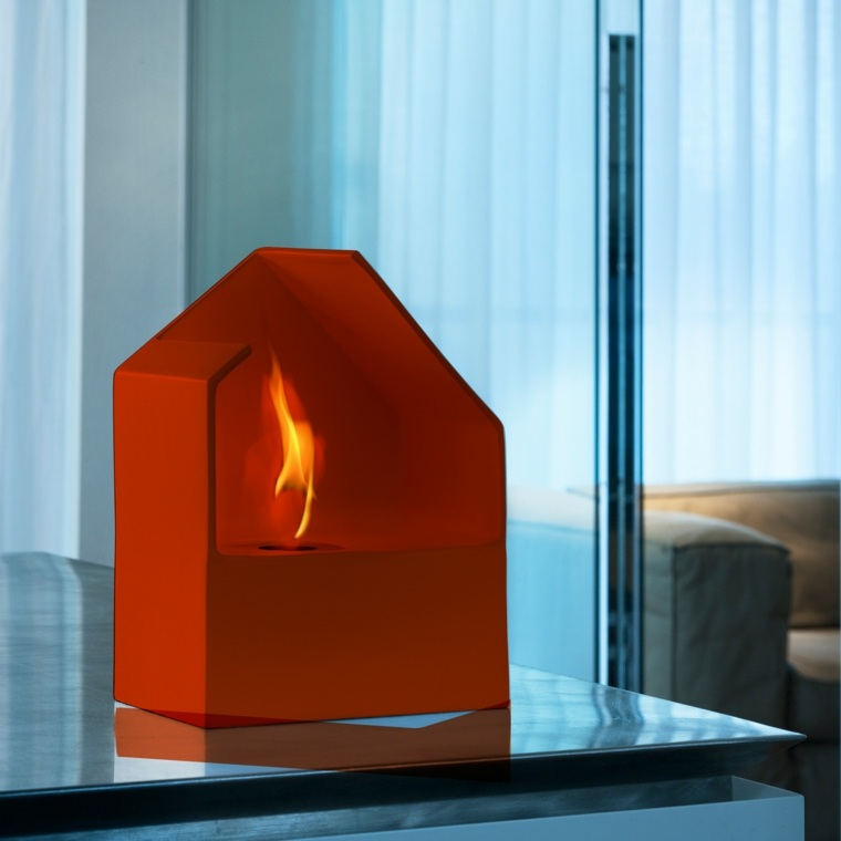 chimeneas decorativas diseno naranja acquaefuoco ideas