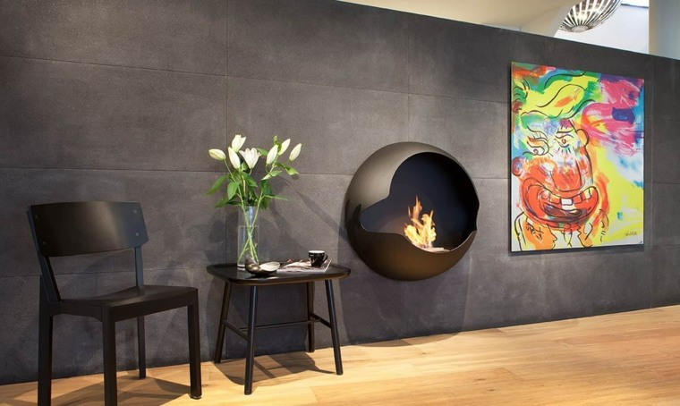 chimeneas decorativas diseno pared vauni ideas
