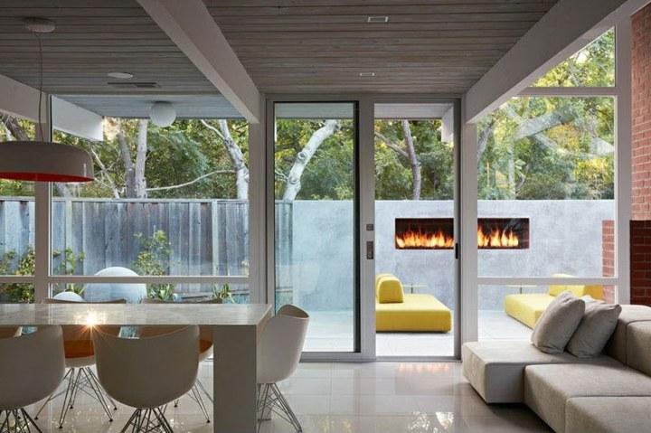 chimeneas diseño jardines colores salones