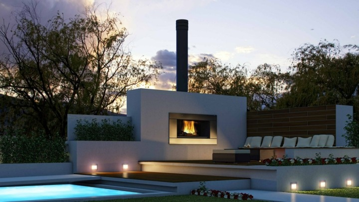 chimeneas diseño luces led elegantes paredes