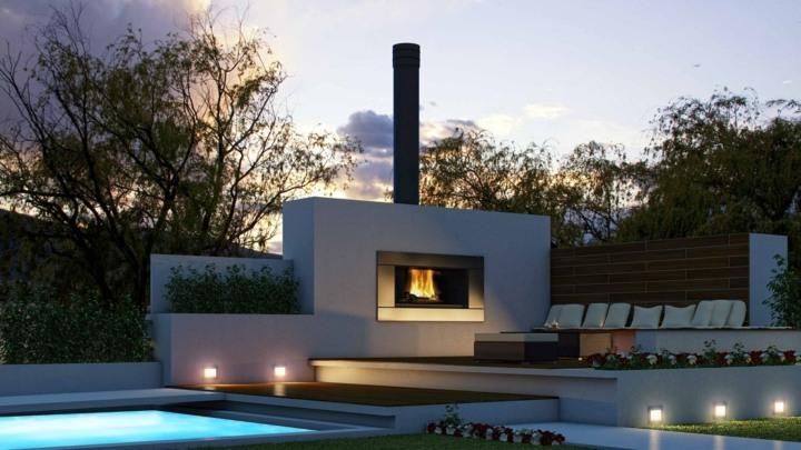 chimeneas diseño luces led elegantes paredes