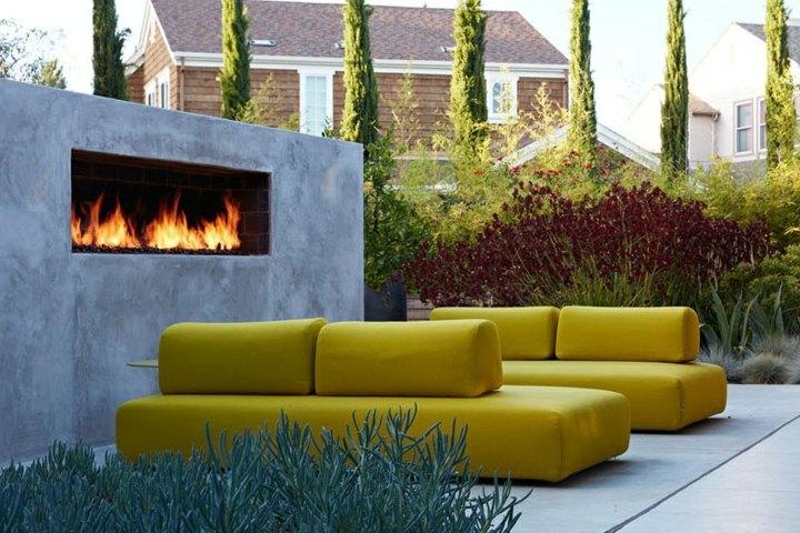 chimeneas diseño patio moderno efecto plantas