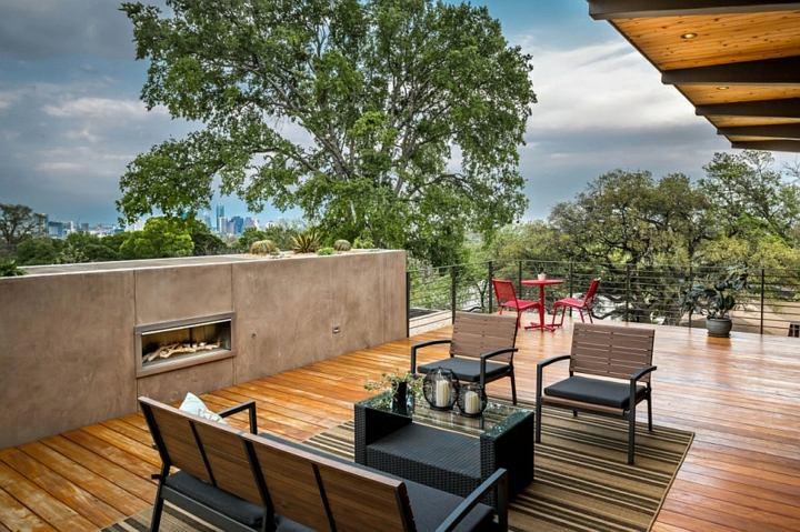 chimeneas diseño texas casas terrazas negro
