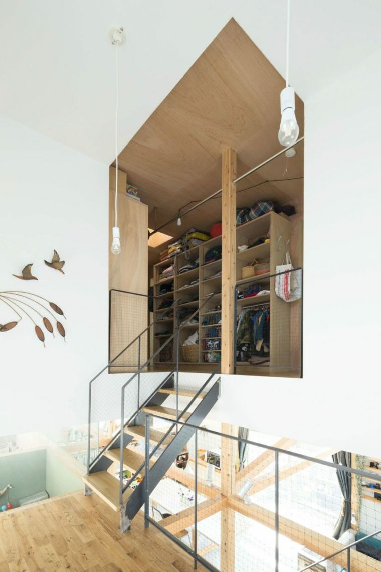 closet materiales metales madera grises