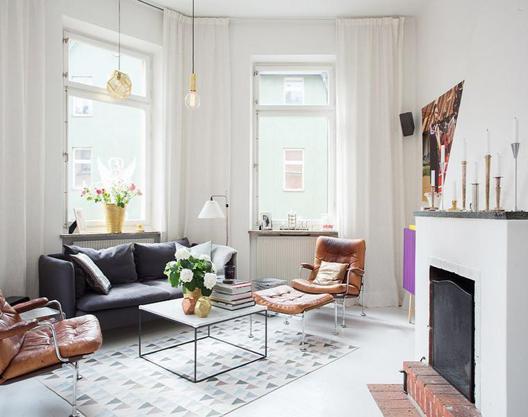 salon moderno cortinas blancas