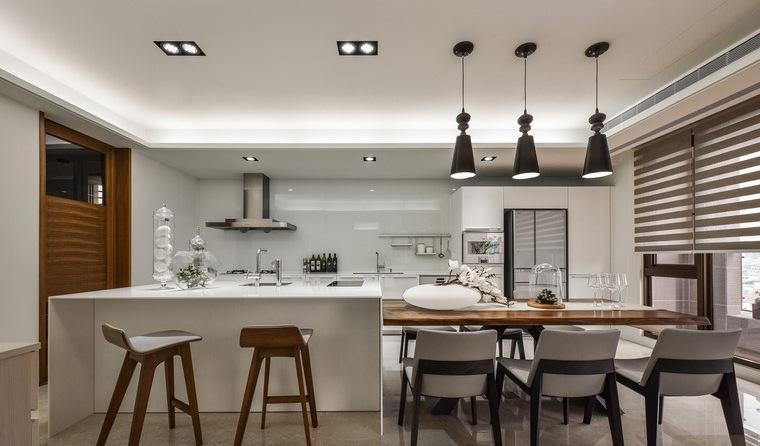 cocina comedor blanco diseno hui yu interiors ideas