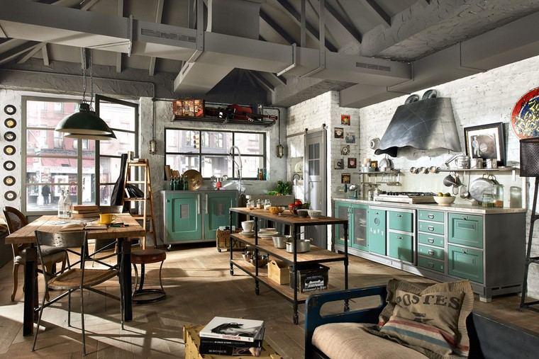 cocina comedor vintage industrial diseno ideas