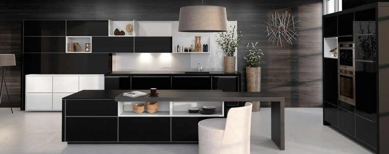 cocinas forma diseno alamacenamiento integrado cocina blanco negro diseno ideas