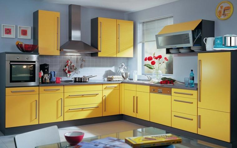 cocinas forma diseno cocina muebles amarillos ideas