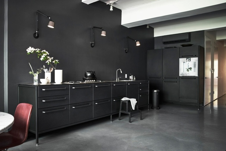 cocinas forma diseno cocina negra moderna ideas