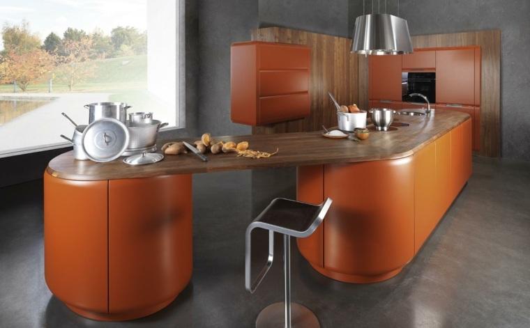 cocinas forma diseno contemporanea cocina naranja ideas