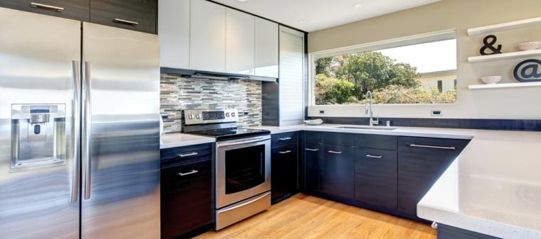 cocina forma diseno gabinetes color oscuro ideas