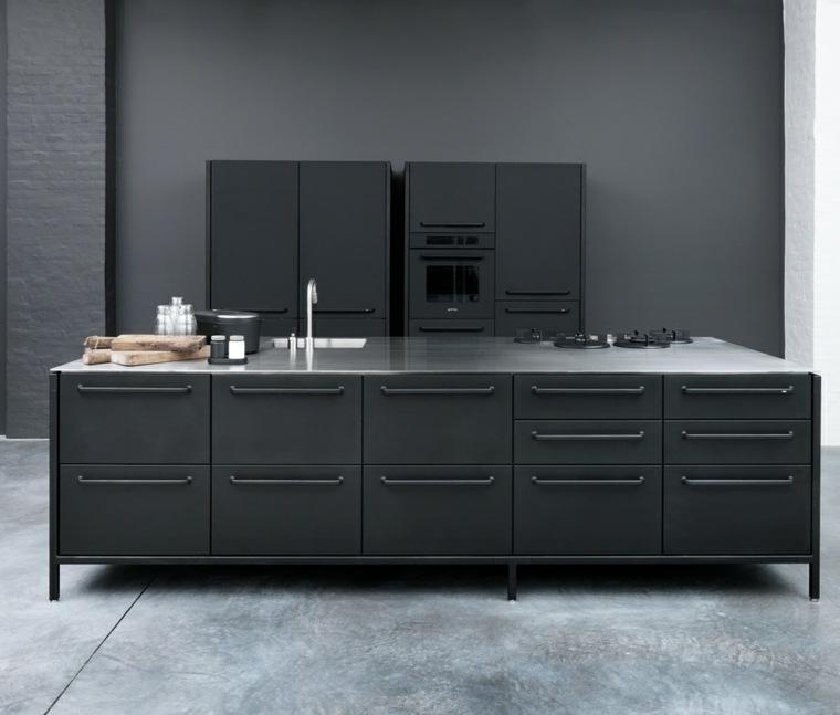 cocina forma diseno gabinetes isla color negro ideas