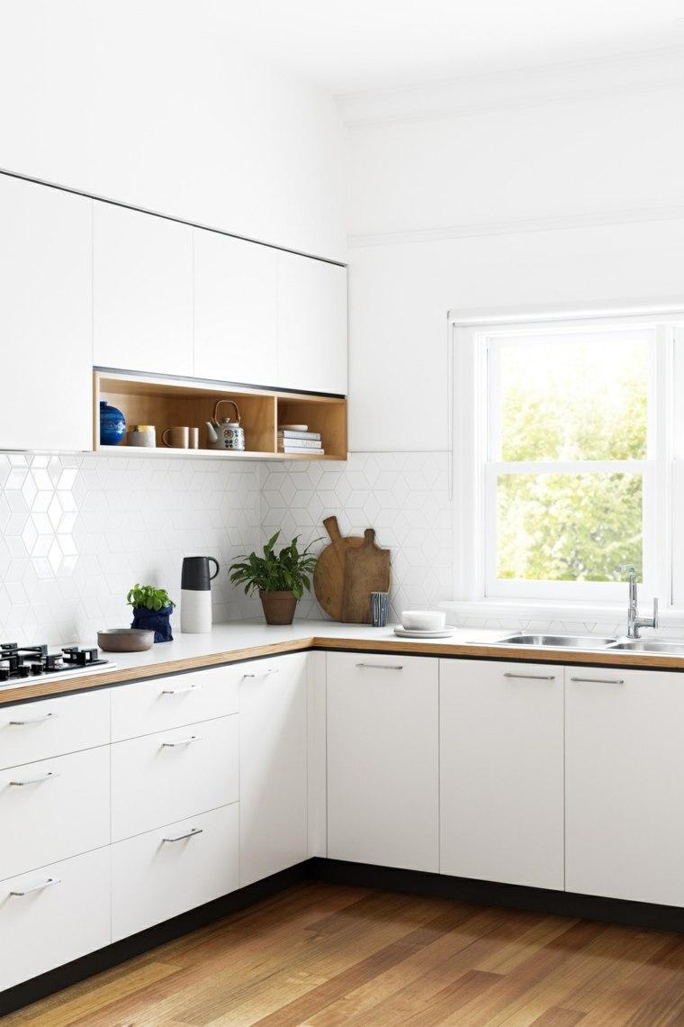 cocina forma diseno muebles blancos bonitos ideas