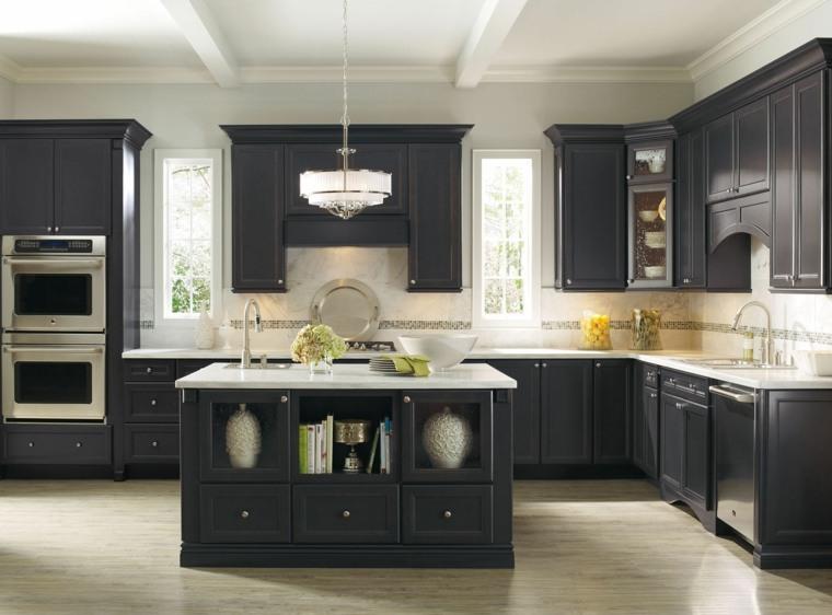 cocina forma diseno muebles color gris oscuro ideas