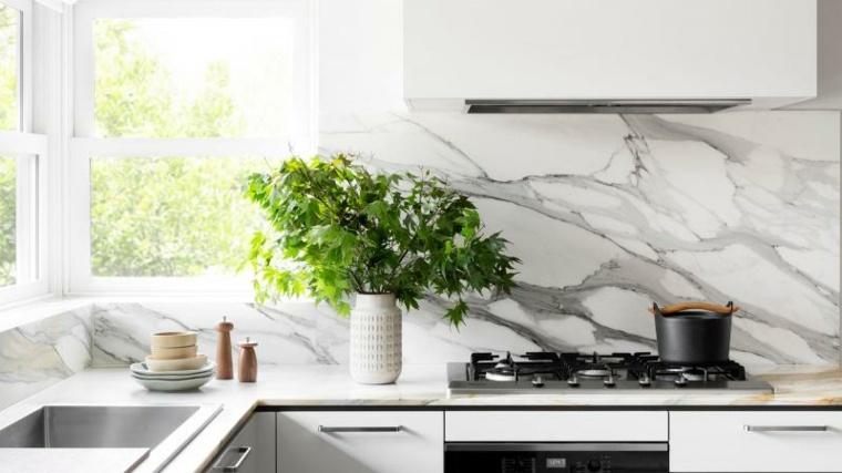 cocina forma diseno salpicadero marmol bonito ideas