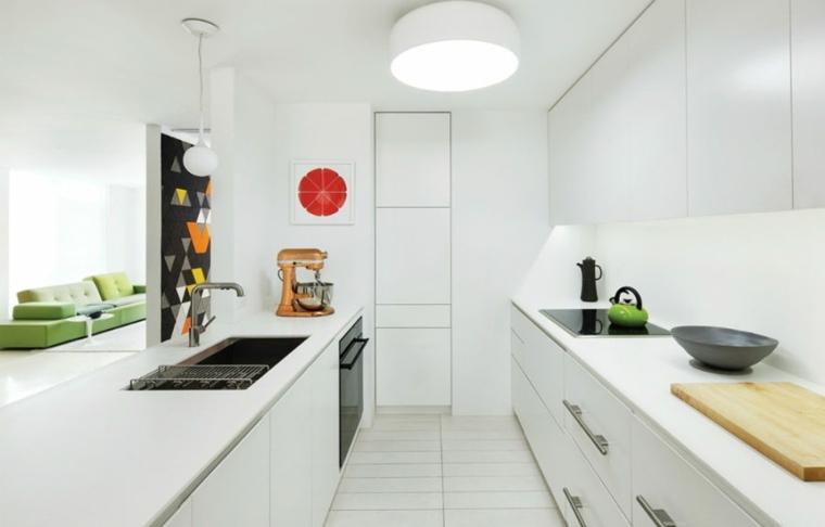 cocina moderna empotrada amplia rojo