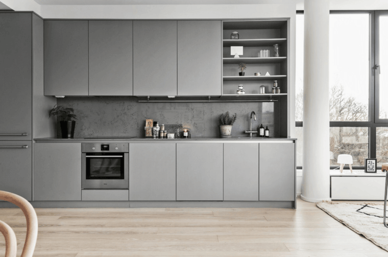 cocina moderna muebles grises