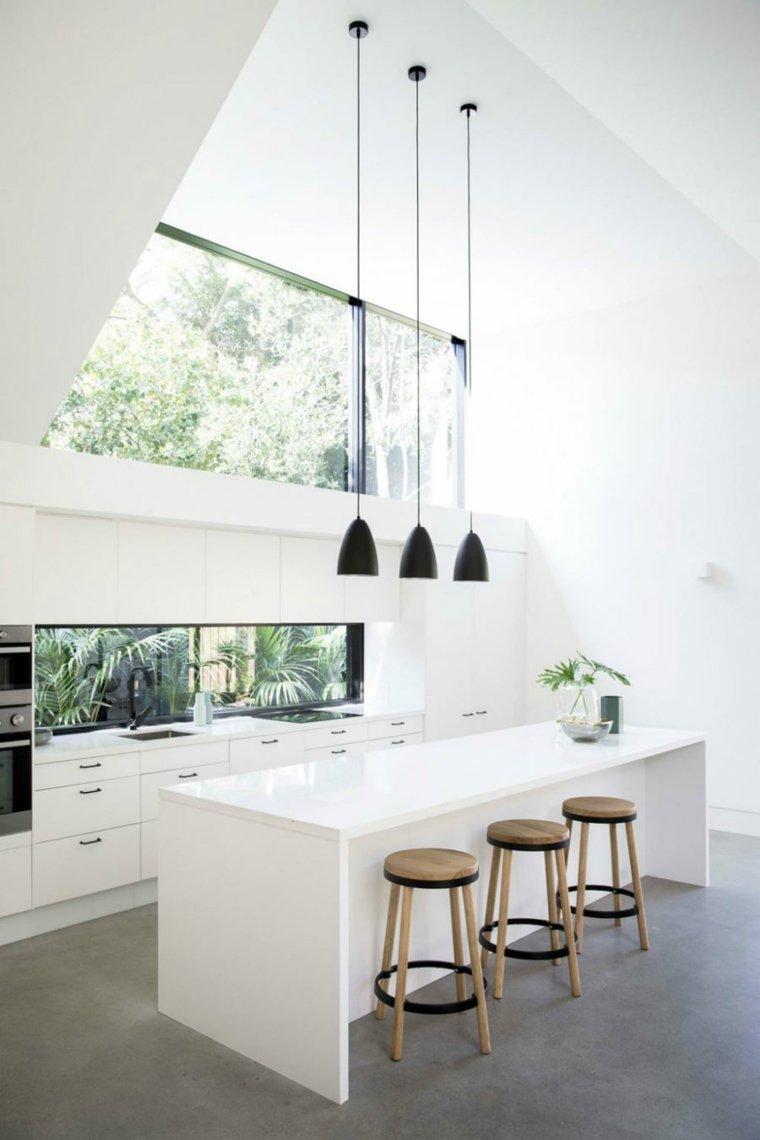 cocina salpicadero ventanas fregadero negro