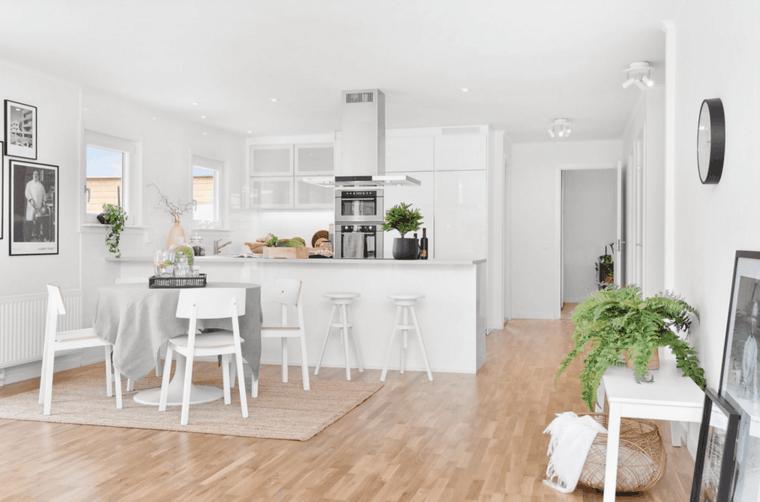cocina moderna blanca comedor moderno