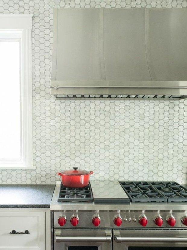 cocinas azulejos contrate acero inoxidable acero