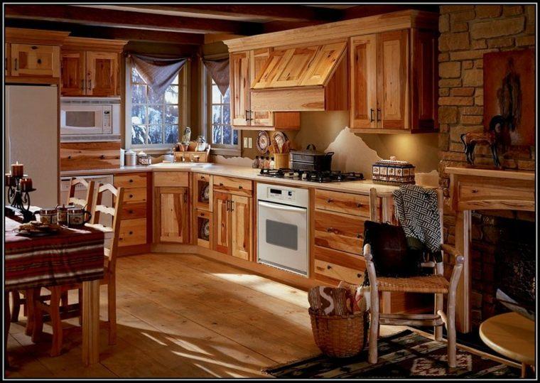 Cocinas rurales, el uso de la madera y la piedra para decorar -